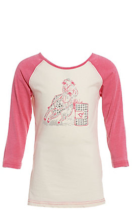 Cowgirl Hardware Girls' Cream Barrel Horse Racer with Pink Raglan Sleeves Tee