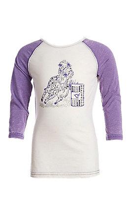 Cowgirl Hardware Girls Basic Raglan Purple Barrel Racer T-Shirt