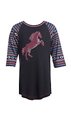 Cowgirl Hardware Girls Crystal Stormy Horse Raglan T-Shirt