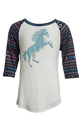 Cowgirl Hardware Girls White Crystal Horse Southwestern 3/4 Sleeve Top
