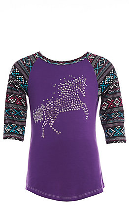 Cowgirl Hardware Girls' Purple Crystal Horse with Aztec Long Sleeve Tee