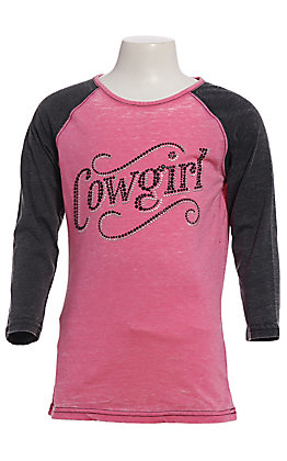 Cowgirl Hardware Girls' Pink and Grey Raglan Sleeves Sassy Cowgirl T-Shirt