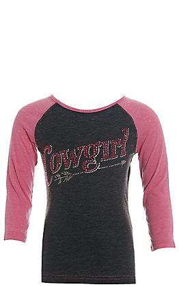 Cowgirl Hardware Girls' Grey Studded Cowgirl with Pink Raglan Sleeves Tee