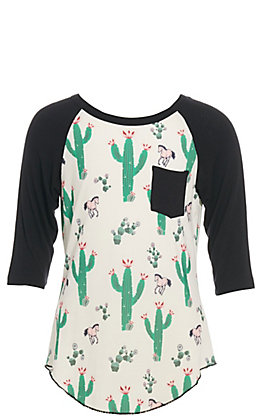 Cowgirl Hardware Girls' White with Mixed Cactus and Horse Print Black Raglan Sleeves Pocket Tee