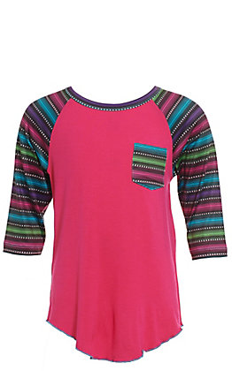 Cowgirl Hardware Girls' Pink with Serape Pocket and Raglan Sleeves Tee