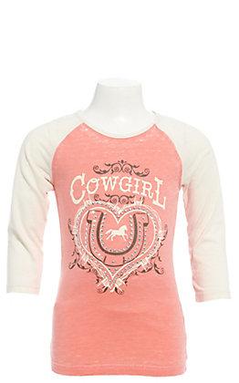 Cowgirl Hardware Girls' Coral Heart Horseshoe with Cream 3/4 Raglan Sleeves Tee
