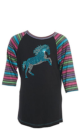 Cowgirl Hardware Girls' Black with Turquoise Studded Stormy Horse and Serape Raglan Sleeves Tee