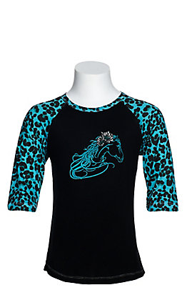 Cowgirl Hardware Girls' Black Beautiful Horse with Turquoise Leopard Raglan Sleeves Tee