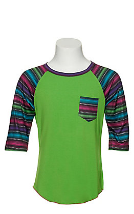 Cowgirl Hardware Kelly Green with Serape 3/4 Sleeve Raglan T-Shirt