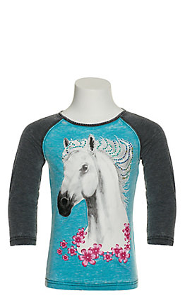 Cowgirl Hardware Girl's Blue Watercolor Horse 3/4 Sleeve T-Shirt