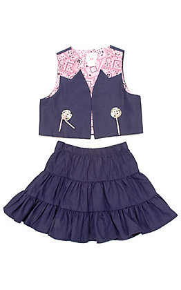 Kiddie Korral Girls Denim Pink Prairie Skirt Set