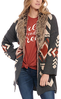 Rockin' C Women's Charcoal Aztec Fur Sweater Cardigan