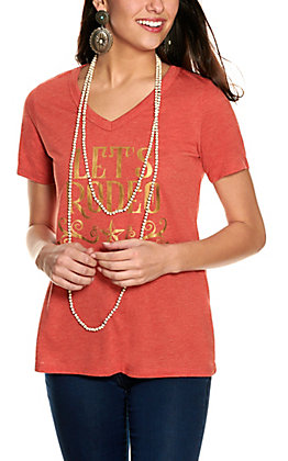 Southern Grace Women's Heather Rust with Gold Let's Rodeo Graphic V-Neck Short Sleeve Tee