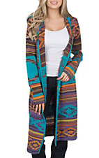 Anne French Women's Turquoise Aztec Print Sweater Cardigan