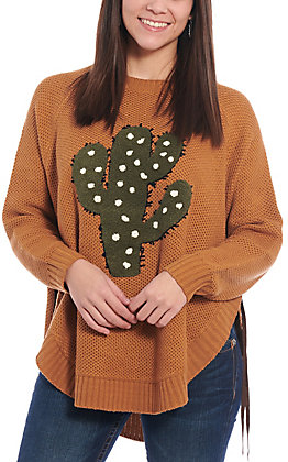 Magnolia Lane Women's Caramel Cactus Long Sleeve Sweater