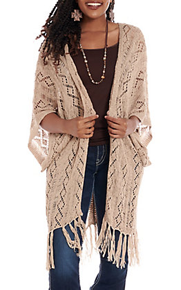 Rock & Roll Cowgirl Women's Beige Crochet Fringe Kimono