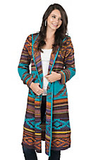 Steel Roses Women's Teal Aztec Print Long Sleeve Sweater Duster