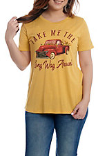 Southern Grace Women's Mustard Take Me the Long Way Around T-Shirt