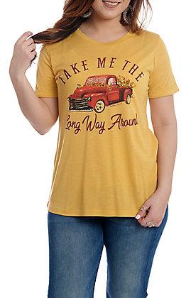 Southern Grace Women's Mustard Take Me the Long Way Around T-Shirt