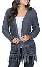 Anne French Women's Blue Yarn Fringe Sweater Cardigan