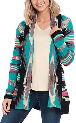 Rock & Roll Cowgirl Women's Black & Turquoise Aztec Print Cardigan