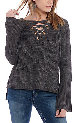 Rock & Roll Cowgirl Women's Grey Lace Up Sweater