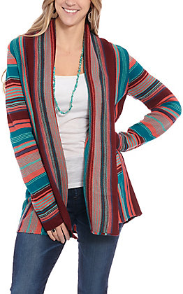 Rock & Roll Cowgirl Women's Multi Pink Striped Sweater Cardigan