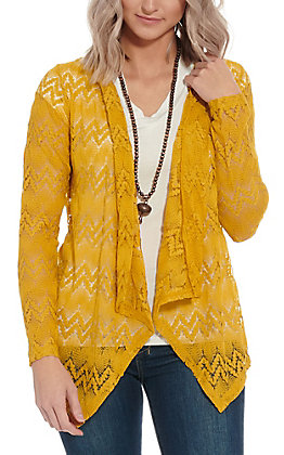 Rock & Roll Cowgirl Women's Mustard Lace Cardigan