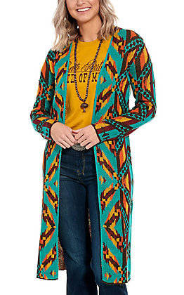 Rock & Roll Cowgirl Turquoise Aztec Cardigan