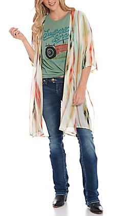 Grace & Emma Women's Desert Sunset Aztec Print Kimono