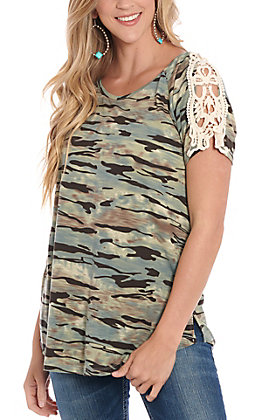 Grace & Emma Women's Camo With Lace Shoulder Accents Fashion Top