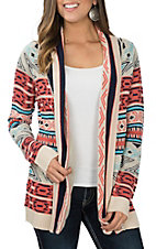 Rock & Roll Cowgirl Women's Cream, Blue & Coral Aztec Raglan Cardigan