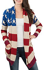 Rock & Roll Cowgirl Women's American Flag Sweater Cardigan