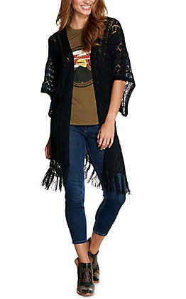 Rock & Roll Cowgirl Women's Black Knit with Fringe Short Sleeve Cardigan