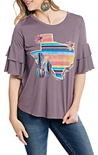 Southern Grace Women's Dusty Purple Just Like Heaven Desert Serape Texas Short Sleeve Fashion Top