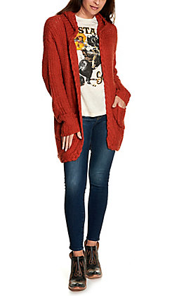 Rock & Roll Cowgirl Women's Rust Cable Knit Hooded Long Sleeve Sweater Cardigan