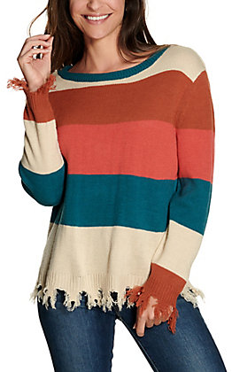 Rock & Roll Cowgirl Women's Teal, Pink and Rust Stripes with Frayed Edges Long Sleeve Sweater