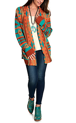 Rock & Roll Cowgirl Women's Turquoise and Orange Aztec Sweater Cardigan