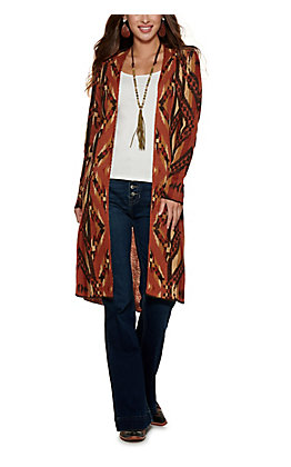 Rock & Roll Cowgirl Women's Rust Aztec Print Duster Cardigan