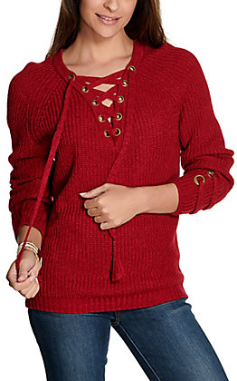 Rock & Roll Cowgirl Women's Burgundy Lace Up Long Sleeve Sweater