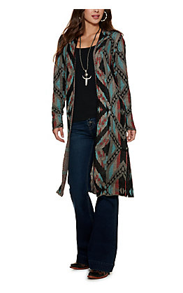 Rock & Roll Cowgirl Grey Aztec Print Long Sleeve Duster Cardigan