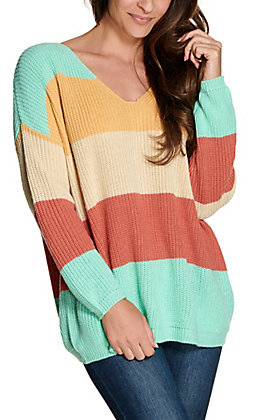 Rock & Roll Cowgirl Women's Mint, Yellow, and Blush Stripes Lace Up Back Long Sleeve Sweater