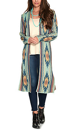 Rock & Roll Cowgirl Women's Turquoise with Multi Aztec Design Long Sleeve Sweater Knit Cardigan
