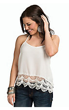 PPLA Women's Ivory with Crochet Hem T-Back Tank