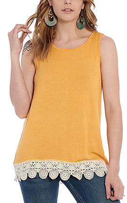 Grace & Emma Women's Mustard & Ivory Lace Fashion Tank