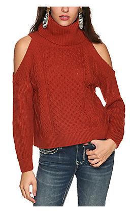 Rock & Roll Cowgirl Women's Rust Orange Turtleneck Chunky Knit Cold Shoulder Long Sleeve Sweater