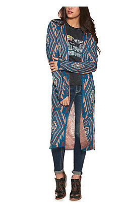 Rock & Roll Cowgirl Women's Blue with Pink and Orange Aztec Print Long Sleeve Duster Cardigan