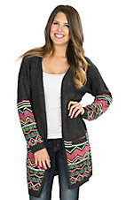 Rock & Roll Cowgirl Women's Charcoal with Neon Aztec Designs Long Sleeve Cardigan