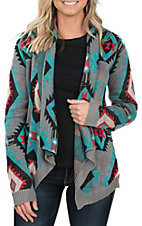 Rock & Roll Cowgirl Women's Aztec Long Sleeve Knit Cardigan Sweater