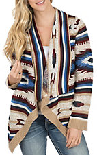 Rock & Roll Cowgirl Women's Americana Aztec Long Sleeve Knit Cardigan Sweater